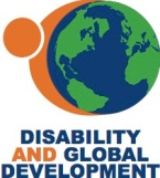 "The logo shows a graphic of Earth with an orange person figure wrapping their hands around the world. The words ""Disability and Global Development"" appear below."